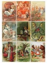 Printable Alice in Wonderland Digital Collage Sheet  John Tenniel  Scrap... - $2.50