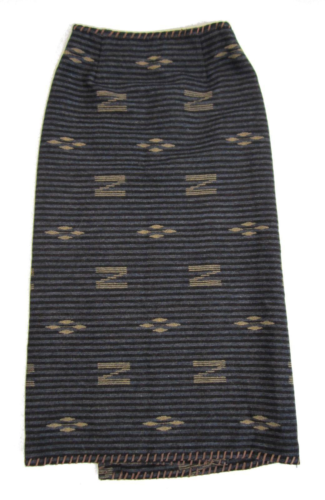 8 LAUREN Blue Wool Indian Blanket Concho Whipstitch Skirt