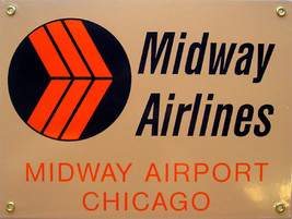 Midway Airlines Airplane Plane Flight Flying Vintage Aviation Metal Sign - $29.95