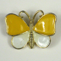 Sphinx Butterfly Brooch  Goldtone Yellow 1 1/8 Inch Enamel Discoloration... - $19.79