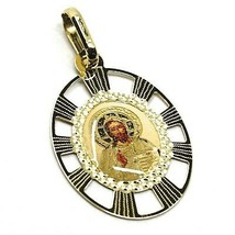 Pendant Medal Yellow Gold 750 18K, Jesus, Christ, Frame, Spokes, Enamel image 2