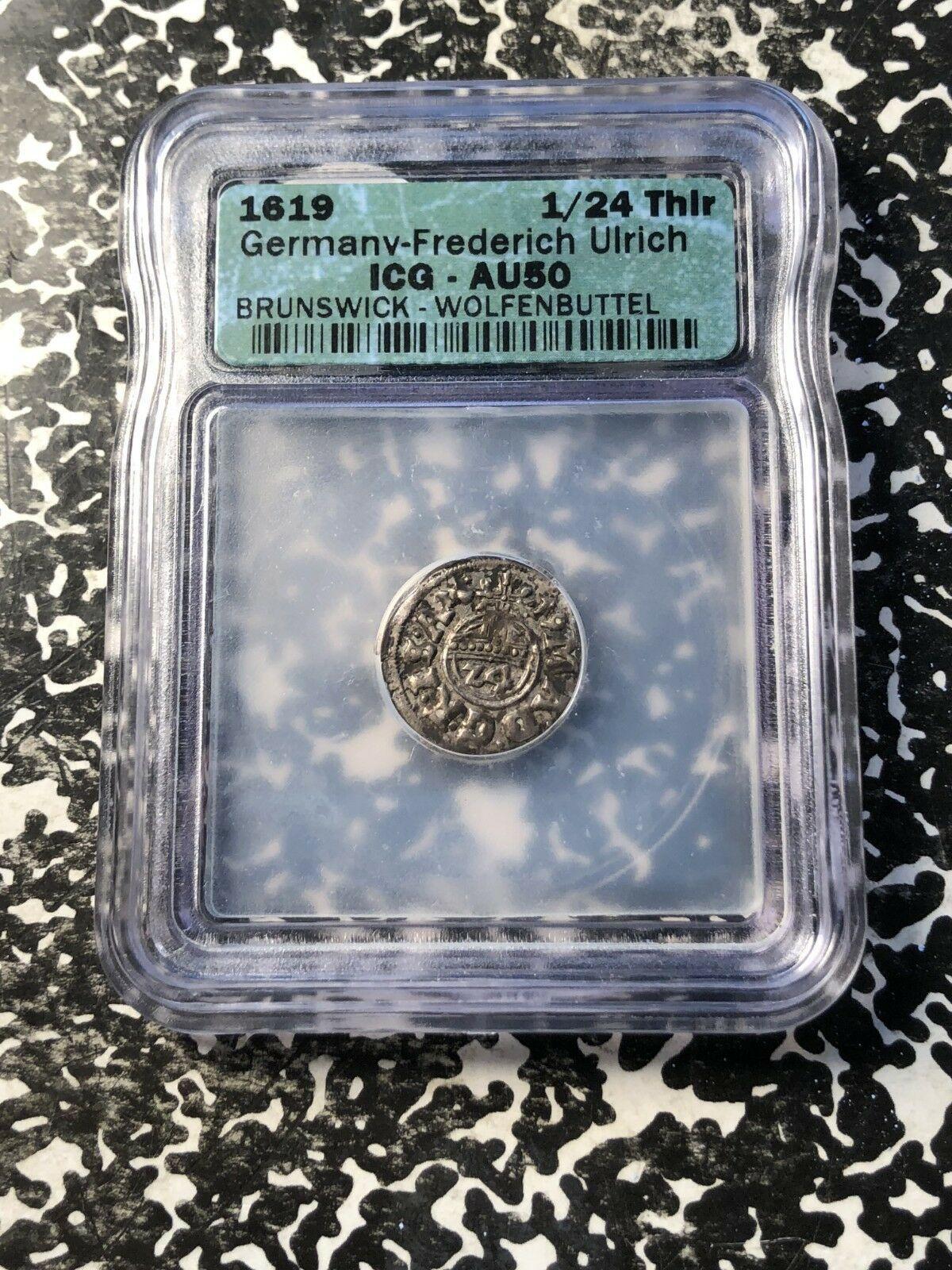 1619 Germania Brunswick-Wolfenbuttel 1/24 Thaler ICG Au50 Lotto #G992 Argento!