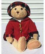 Walmart Girl Teddy Bear in Red Fleece Winter Coat Plaid Skirt Hat Jointe... - $24.95