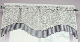 New Waverly Belle Of The Ball Valance Curtain Navy Blue & Gray Beige Striped - $24.14