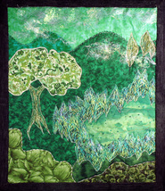 Green Grow the Rushes, O!: Quilted Art Wall Hanging in greens - $435.00