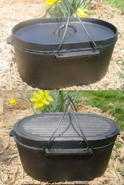 Oval roaster cast iron dutch oven self basting lid 10qt for Dutch oven camping recipes for two