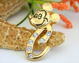Disney Mickey Mouse Face Pin Initial C Rhinestones Crystals - $11.95