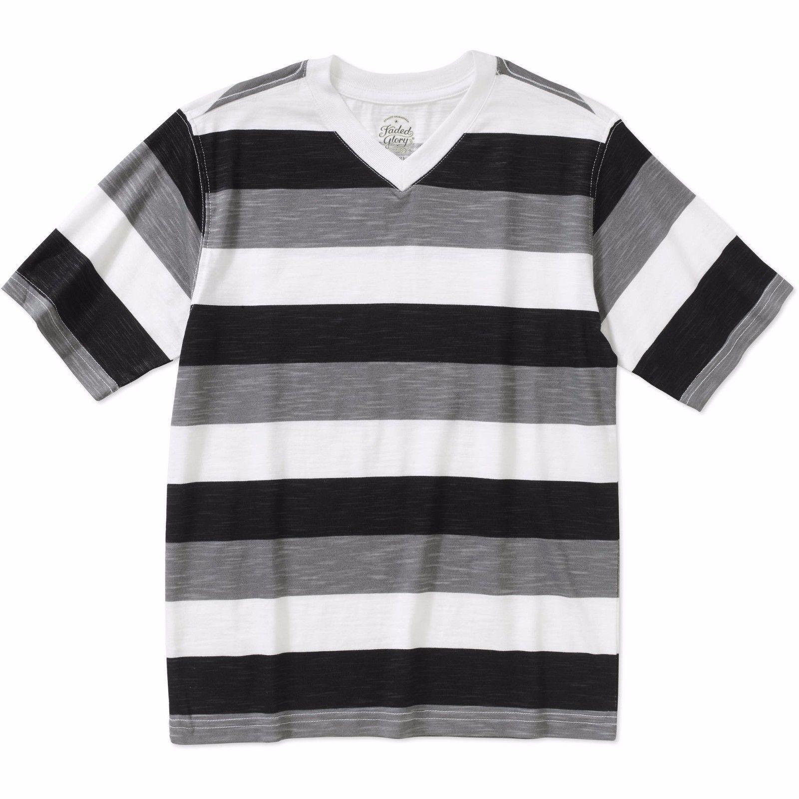 20b408ff79701 Faded Glory Boys Short Sleeve Rugby V Neck T Shirt Black Soot Size 2XL 18 -   8.90