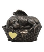 Ebros Heavenly Angel Labrador Dog Sleeping in Wicker Bed Basket Crematio... - $54.44