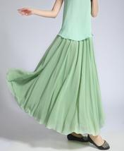 CHIFFON MAXI Skirt Sage-Green Long Silk Chiffon Maxi Skirts Bridesmaid Skirts image 5