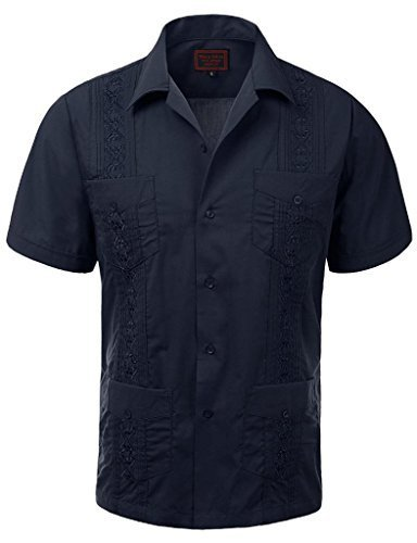 Guayabera Men's Cuban Beach Wedding Short Sleeve Button-Up Casual Dress Shirt (S