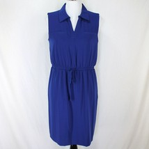 Ellen Tracy Sleeveless Dress Sz 10P Blue Elastic Waist V Neck Womens Petite - $19.99