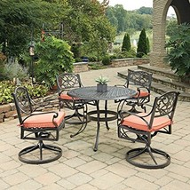 Home Styles 5555-305C 5 Piece Biscayne Round Outdoor Dining Set, Black/R... - $1,146.41