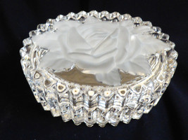 Clear Ribbed Oval Crystal Frosted rose flower Trinket Jewelry Box with Lid - $31.68