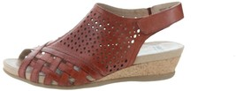 Earth Leather Perforated Wedge Sandals- Pisa Galli Terracotta 9.5W NEW A... - $73.24