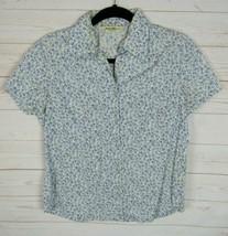 Eddie Bauer Womens Short Sleeve White w/Blue Florals Button Up Blouse Size XS  - $8.99