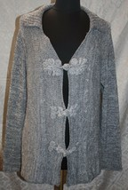 Coldwater Creek Sz L Cardigan Sweater Black White Variegated Frog Button... - $30.06