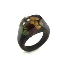 Handcrafted ring made from exotic wood and real flowers - $82.00