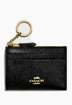 NWT Coach Black Leather Card Case Mini Wallet New - $59.39