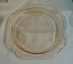 Pink Depression Glass Divided Plate, Madrid Pattern, Lace Glass, Vintage 1930 -  - $18.95