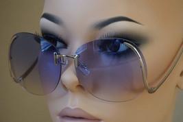 OVERSIZE VINTAGE RETRO Style SUNGLASSES Upside Down Gold Frame Purple Lens - $10.84