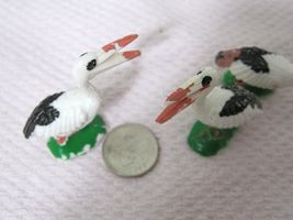 Vintage Miniature Bird Stork Pelican 1 5/8 x 1 1/2  Inches  Crafts 3 PC image 4
