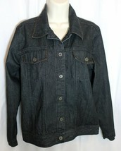 Denim & Co Jeans Jacket Womens Size S / M Trucker Style Dark Wash Blue D... - $14.80