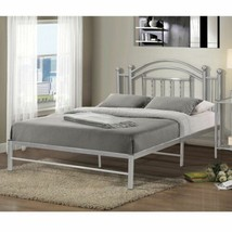 Twin Full Size Chrome Silver Metal Platform Bed Frame Headboard Foundati... - $212.90