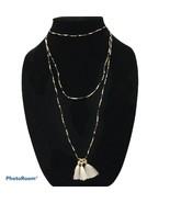 "Handmade Artisan seed bead tassel boho long necklace 58"" black tan white N2 - $13.10"
