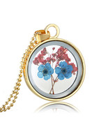 Variation #875 of Super Charming Dried Flowers Round Glass Silver Plated... - $16.88