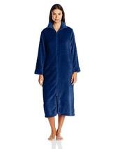 Miss Elaine Women's Dotted Fleece Long Zip Robe in Indigo Blue Size M (N... - ₨1,902.47 INR