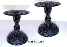 Westmoreland / Plum Glass Black Glass Candleholders No. 1928 Bramble Maple Leaf - $24.99