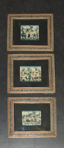 Lot 3 Antique Persian Handmade Miniature Painting on Bone Islamic Artwork Framed image 2