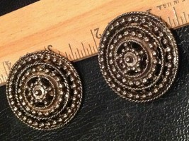 "1.5"" wide round metal studded Clip On Earrings Steampunk Vintage Fashion - $4.23"