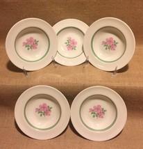 """Franciscan Cherokee Rose Berry Bowls Set of 5 Dessert 6.25"""" Wide Green B... - $39.99"""