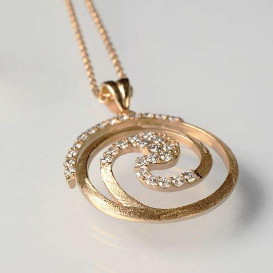 Collar de Plata 925 Laminado Oro Amarillo, Rodiado por Maria Ielpo Made IN Italy