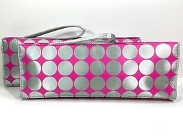 2pc Elizabeth Arden Clutch Style Cosmetic Makeup Bag (Pink,Silver) - $13.98