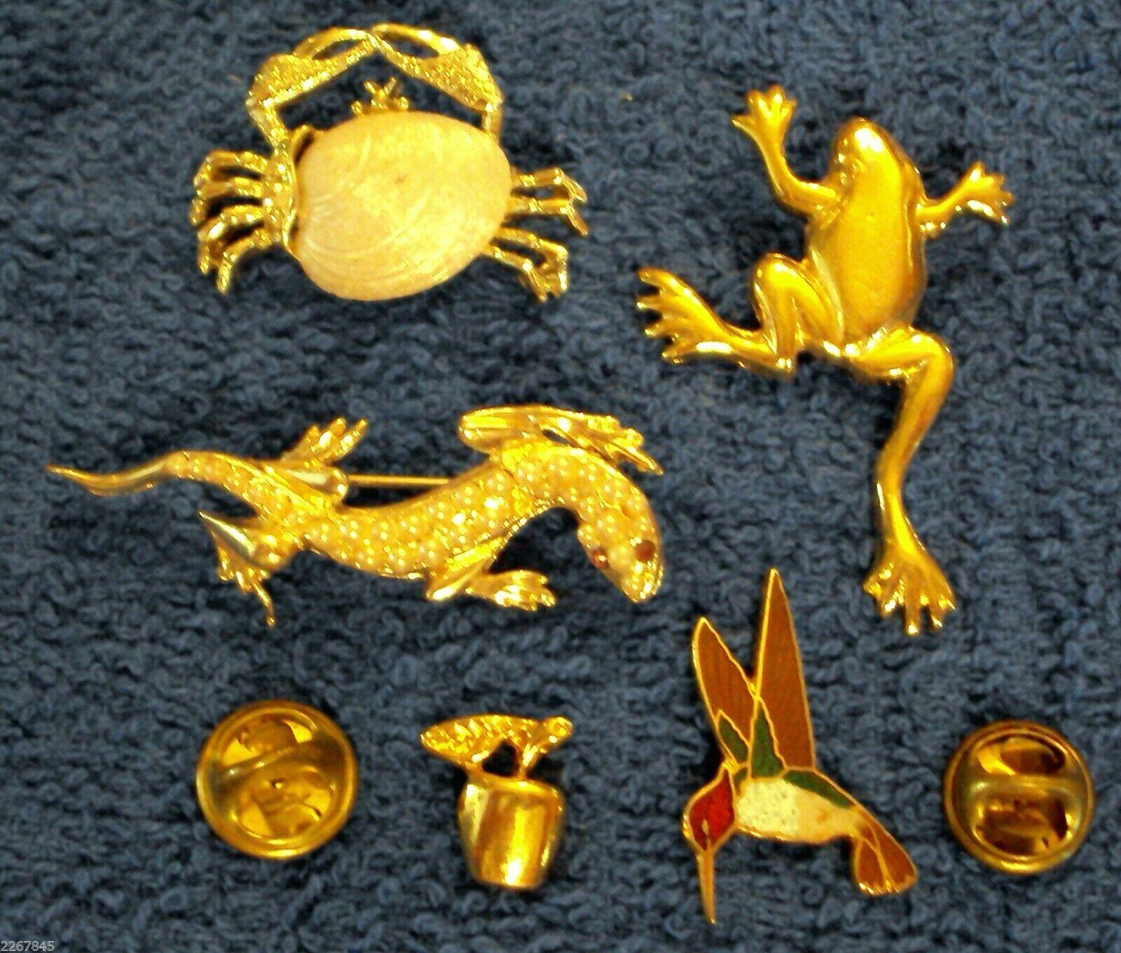 Figural Scatter Pin LOT Gerry's Crab Frog Salamander Hummingbird Brooch VTG  - $19.76