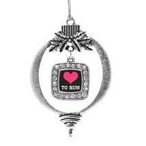 Inspired Silver Love To Run Classic Holiday Christmas Tree Ornament With Crystal - $14.69