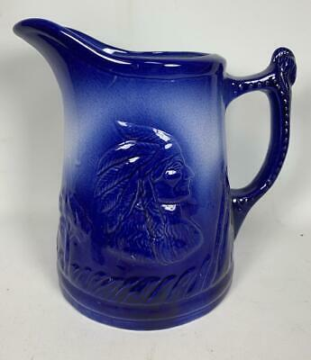 "Primary image for Vintage 8.5"" Blue IRONSTONE ENGLAND 1890 Art Pottery Pitcher Jug Indian Teepee"