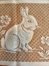 White Lace Bunny Rabbit Panel Square 10.5 X 9 inches Crafts Easter Flowers image 2