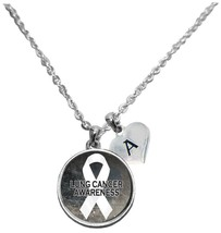 Custom Lung Cancer Awareness Sparkle Silver Necklace Jewelry Choose Initial - $16.99