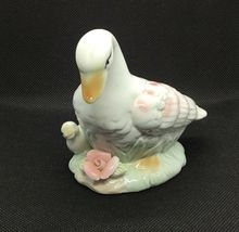 Vintage Porcelain Duck with Duckling Accented with Pink Color and Flower image 6