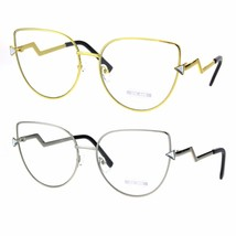 Clear Lens Lightening Bolt Crooked Arm Gothic Cat Eye Glasses - $12.95