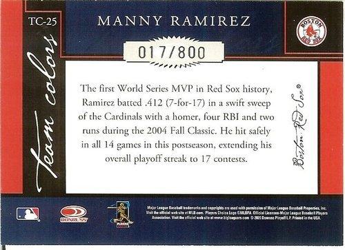 2005 donruss boston red soxs manny ramirez serial # 17/800