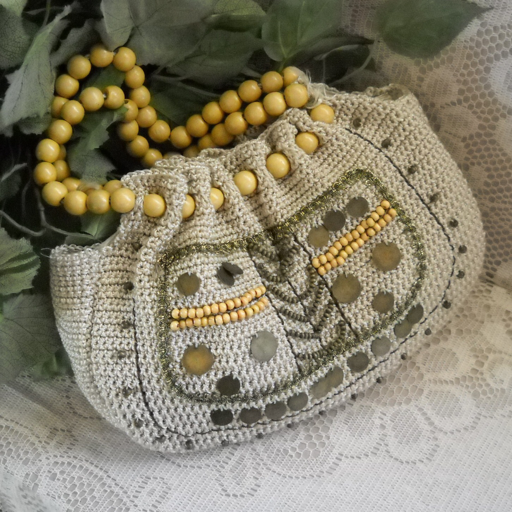 Crocheted Handbag Hippie Hobo Tote with Beads and Baubles