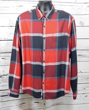 Lucky Brand Mens Casual Button Down Red Plaid Shirt Size: L