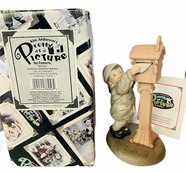 Primary image for Pretty as Picture Kim Anderson figurine vtg NIB box Sending Warmest wishes mail