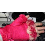 Genuine Rabbit Fur Trimmed Fingerless Gloves Free Shipping - $20.00