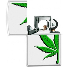 Zippo Lighter - Half a Pot Leaf Pipe Lighter White Matte - 854433 - $26.69